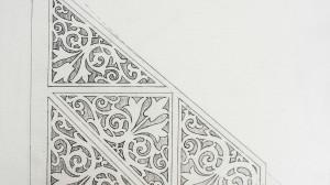 graficzny projekt 2 ganku szkic ażurów dekoracyjnych